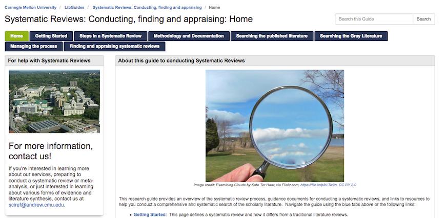 Screenshot of Research Guide