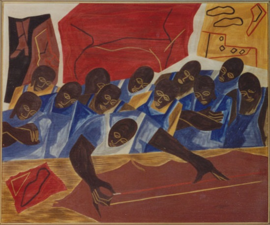 """A Class in Shoemaking"" painting by Jacob Lawrence"